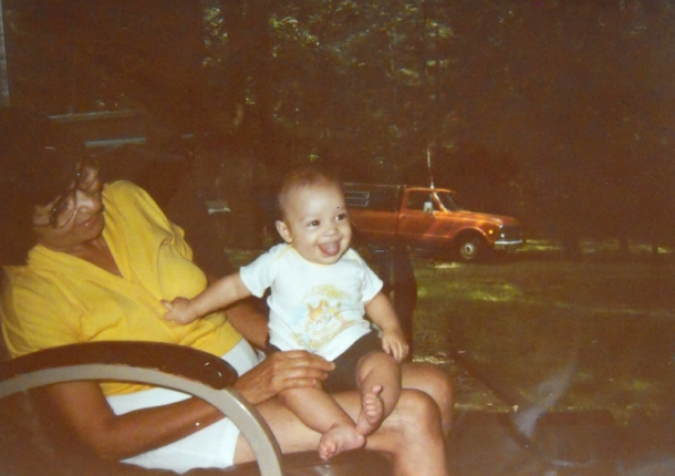 Grandma J. and I at their campground when I was a baby.