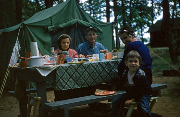 Grandma camping with her parents and my mom when she was a young girl.